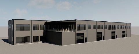 NYTT NÆRINGSBYGG: Industribygget i Årnes Næringspark er planlagt med en høyde på ni meter . (Ill: HH Prosjektassistanse AS)