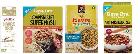 FROKOST: Frokostblandinger og havredrikk. Foto: Orkla