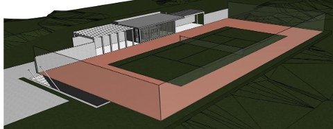 TENNISBANE: Slik skulle tennisbanen med i Ødekjærveien 43 se ut.  Det var planlagt en underetasje under hele tennisbanen med takhøyde over tre meter.