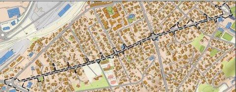 Planområdet omfatter hele Reinslettveien  sideveier, deler av Kirkeveien og et området der elever leveres og hentes ved Saltvern skole.