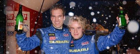 Mads Østberg (t.h.) og kartleser Ole K. Unnnerud var suverene vinnere av Sigdalsrally 2008.