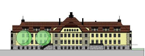 Slik har arkitekten tenkt seg at fasaden blir når det gamle sykehuset forvandles til leiligheter.