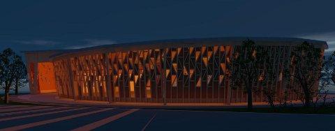 SKISSE: Slik såg Norconsult i fjor føre seg at bygget kan sjå ut på kveldstid. Dette er ei skisse, og det vert justeringar gjennom deltaljplanlegginga.