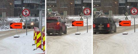 FORTSATT ULOVLIG: Det er skiltet «forbudt for motorvogn» med unntak for buss i Elvarheimgata i Elverum. Etter en ukes tid med skilting, brytes fortsatt trafikkreglene.