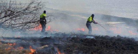 BRANNFARE: Med vind og lite nedbør er det nå gress- og skogbrannfare. Brannvesenet oppfordrer folk til å være forsiktig.