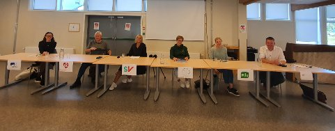 PANELET: Hedda Wike (Høyre), Karl Einar Haslestad (Arbeiderpartiet), Anya Alme (SV), Tove Ødeskaug (Senterpartiet), Julie Guttormsen (MDG) og Anders Tyvand (KrF) deltok på en undervisningsdebatt på Sande ungdomsskole torsdag.
