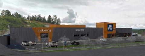BYGGEGRENSA: Veivesenet mener byggvarehuset må flyttes lengre unna E18, dersom det fortsatt skal være kjørevei, parkering og varelevering mot jordvollen og E18. (Illustrasjon: Kvartal 19 arkitektkontor)