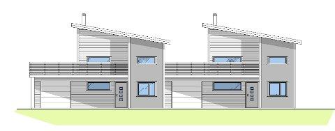 Slik ser utbyggerne for seg boligene. To vertikaldelte tomannsboliger sørger for at Hopen får fire nye boliger. (Illustrasjon: IKON)