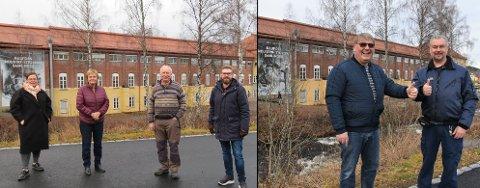 FORENT: Tonje Bergum Jahr (Ap) (t.v.), Rigmor Aasrud (Ap), Jan Nesset (ildsjel) og ordfører Stian Olafsen kjemper for penger til industrimuseum på Raufoss. Det samme gjør Frps Stig Vestlie og Svein Erik Sørensen (t.h.)