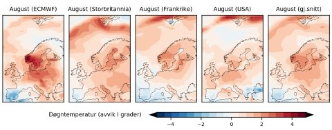 Slik blir august, ifølge de fire ulike sesongvarslene. Kartet helt til høyre viser summen av de fire.