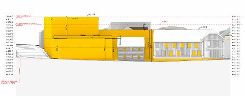 Slik ser man for seg fasaden ut mot Elvegata. Illustrert av Vardehaugen AS