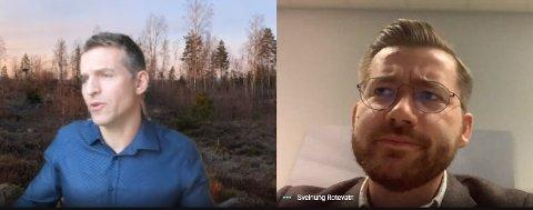 MØTTE RB; Klima- og miljøminister Sveinung Rotevatn (V) roste Ullensakers kommuneplan da han møtte lokallagsrepresentant Thorbjørn Merkesdal (t.v.) og Romerikes Blad onsdag morgen.