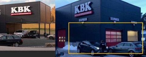 FØR OG ETTER: På det som var godkjent som åpen parkering har Kapp Bil og Karosseriverksted bygget vaskehall uten å ha søkt kommunen om tillatelse.