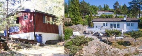 PRISGAP: Den røde hytta til venstre ligger i skogen ved Garder og har en prislapp på 492.000 kroner, mens hytta til høyre ligger ved vannkanten på Bølnes med en prislapp på 8.214.950 kroner.