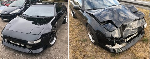 Bilde til venstre ble tatt da Ove Småbrekke hentet den nylakkerte bilen. Fem timer senere kolliderte han, og bilen ser nå ut som på høyre bilde.