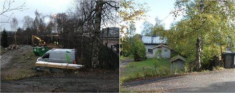 REVET: Huset ved Os bru og innkjøringen til Stumovegen er jevnet med jorda.