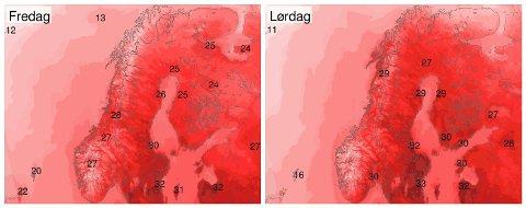 Slik er temperaturprognosene for Norge fredag og lørdag. Flere steder kan se fram mot høye temperaturer og kanskje en norsk tropedag.