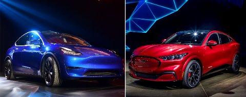 KONKURRENTER: Ford går rett i strupen på Tesla Model Y med SUV-en Mustang Mach-E. Nettavisen har sammenliknet nøkkelegenskapene til hver av bilene.
