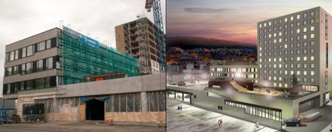 NYTT KVARTAL: Slik ser området på Stakkevollvegen ut i dag. Til høyre er skissene for ferdige The Box.