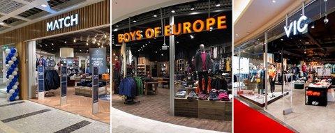 Klesbutikkene Match, Boys of Europe og VIC åpner igjen 15. april. Butikkene finnes på flere sentere i Grenland.