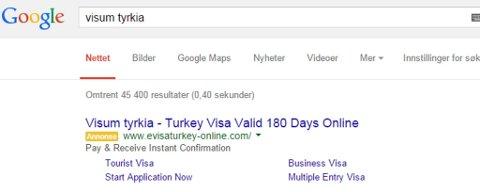 """IKKE LA DEG LURE: Svindelsiden havner øverst i Google-søket - når du søker på """"visum"""" og """"Tyrkia""""."""