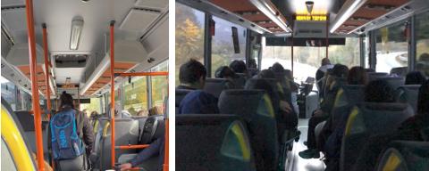 Uroa: Ungdomsrådet er uroa for avstanden mellom passasjerar på skulebussen.