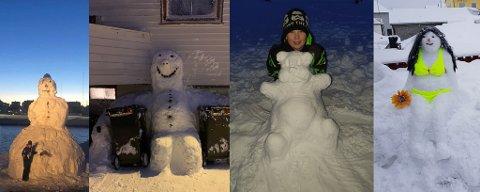 TOK UTFORDRINGEN: Her ser vi noen av bidragene til snømann-utfordringen i Vardø.