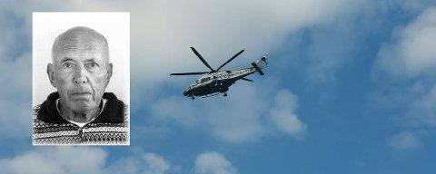 HELIKOPTER: Politihelikopteret deltar i søket etter den savnede mannen (innfelt) i Ottestad. Foto: Jan Morten Frengstad / politiet