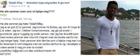 VIL HA HJELP: Yosief tok til Facebook for å treffe nordmenn. SKJERMDUMP: FACEBOOK