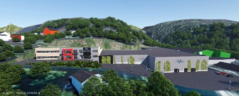 Dette anlegget blir avgjørende for Breiviks næringsliv når det står klart. Illustrasjon: Uno Design & Arkitektur