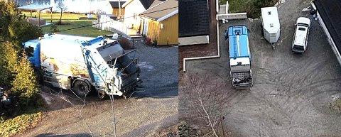 Romerike Avfallsforedling mener det er farlig for søppelbilen å snu på plassen i Tangenveien på bildet til venstre. Den gruslagte plassen til høyre i Røikåsveien i Ekebergdalen er imidlertid en helt grei snuplass.