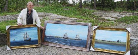 Maler historiske begivenheter: – Det er snart tre år siden jeg hadde utstilling sist, sier Harry R. Glosli som i juli stiller ut sine skutemalerier.                                                                             Foto: Randi Kristoffersen