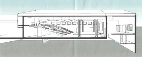 KULTURSAL: Slik ser arkitektene for seg den nye utgaven av Bråte samfunnshus. Dette er salen sett fra skolegården. Dagens scene er til høyre på skissen. Illustrasjon: ACK Arkitekter AS