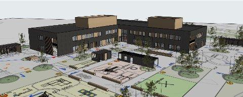 BYGGER NY: Skavanger skole skal stå ferdig i løpet av 2021. Den vil se omtrent slik ut.