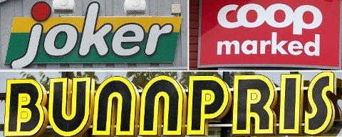 NÆRBUTIKKER: Nettavisens dagligvarebørs kårer denne ukens billigste nærbutikk av Bunnpris, Joker og Coop Marked. Foto: Montasje