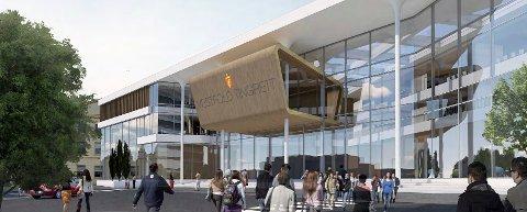 FORSLAG: Sandefjord har levert fire alternativer til ny tingrett. Parkeringsplassen i Nybyen er ett av dem. Denne tomta er kommunal. (Illustrasjon: Spir Arkitekter)