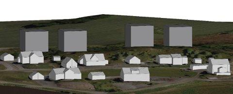 NYE BOLIGER: Illustrasjonen viser volum av planlagt bebyggelse sammenlignet med eksisterende bebyggelse i området.
