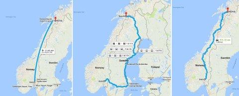 FLY ELLER TOG: Flere av medlemmene i landsstyret til Miljøpartiet De Grønne reiser med fly, men noen legger ut på en ett døgns togreise for å komme fram til partiets landsstyremøte i Narvik til helgen. Foto: Google Maps