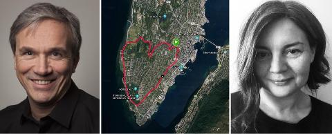 «KARTIOLOGER»: Morten Jørgensen og Maria Haugstad løp sammen på «hjerteruta» som vist på kartet i midten. Se beskrivelse av ruta nederst i saken.