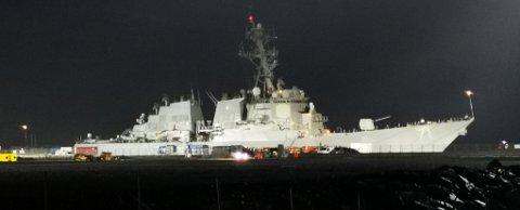 GRØSTUND: Destroyeren USS Ross er på plass i Tromsø. Foto: Rune Brustad-Hanssen