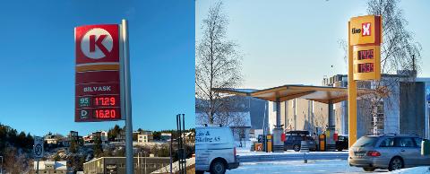FORSKJELL I DRIVSTOFFPRISER: Uno-X etablerte seg i Namsos for å være en prispresser. CircleK i Rørvik har noenlunde samme priser som de andre stasjonene i kystbyen – og klart høyere enn Namsos-stasjonene.