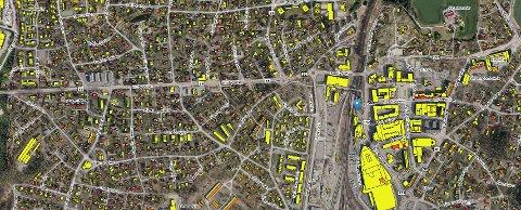 Kartet viser Ski sentrum. Rødt betyr at eiendommen er svært velegnet for solceller. Blått det motsatte.