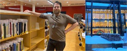 MANGE INNOM: Bibliotekar Pål Karving forteller at det har vært stor pågang på HumSam-biblioteket i dag.