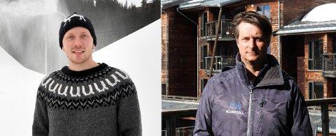 Kjetil Nørstebø (t.v.), daglig leder ved Uvdal skisenter, og resortsjef ved Norefjell Skisenter, Marius Arnesen, er begge imponert over hastigheten på støttetiltakene. Men begge forventer også ytterligere støtte til skisentre og sesongnæringene.