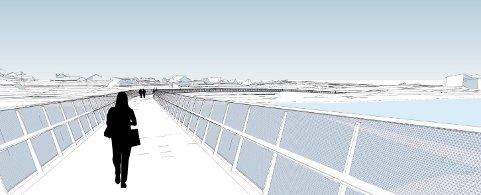 SVING: Brua går mellom Bevegrendveien, et par hundre meter ovenfor KA-bygget, og  Skavangerveien, hvor den kobles på den gangveien mot Kongsberghallen og Lindbojordet.