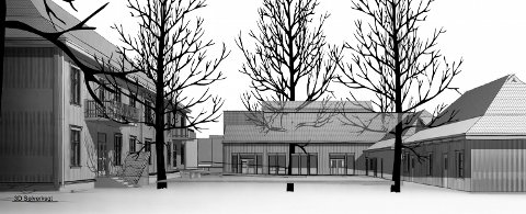 SKISSE: Tegningen er utformet av Friis arkitekter. Skissen viser de eksisterende bygningene til høyre og venstre i bildet. Bygget i bakkant, er det mye omtalte nybygget som må reises for å gi plass til kulturskolens virksomhet.
