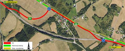 NYTT KJØREMØNSTER: Fra natt til onsdag skal E6-trafikken ledes inn en midlertidig omkjøringsveg nord for Bergshøgda.