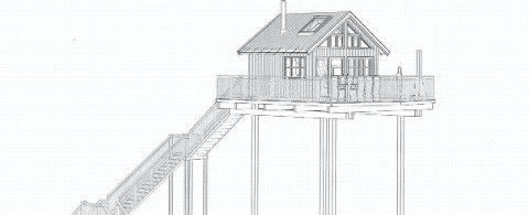 LENGRE PROSESS: Kommunen avslår dispensasjonssøknad om å bygge to tretopphytter i tilknytning til en gård i Brumund. Tegning: Boligportalen