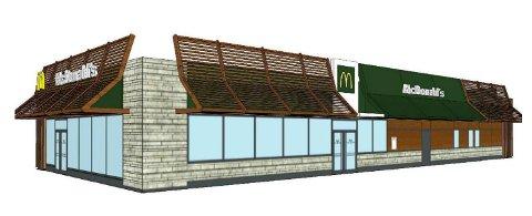 ÉN ELLER TO: Standard McDonalds i én etasje. Det åpnes for at spisestedet kan få to etasjer. (Ill. fra sakspapirene)
