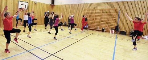 Ivrige: Det går unna på treningen i gymsalen på Tårnåsen skole mandagskveldene. Instruktør Grete Feragen leder an. FOTO: STIG PERSSON